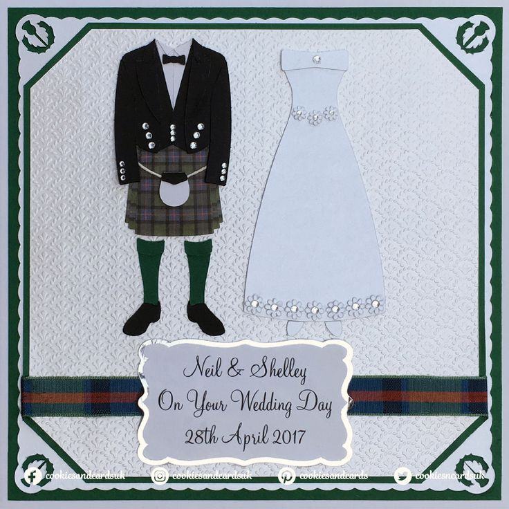 Handmade Scottish themed wedding card. Design features a black Prince Charlie jacket with a Flower of Scotland tartan kilt for the groom and a long white pearlescent dress with flower accented waist and hemline for the bride.