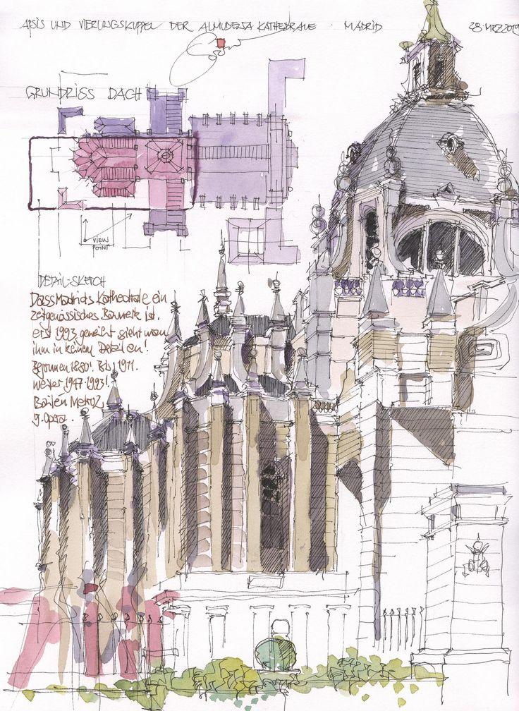 Almudena Kathedrale, Apsis, Madrid, ES | 3/2015 | By Jochen Schittkowski #urban #sketch
