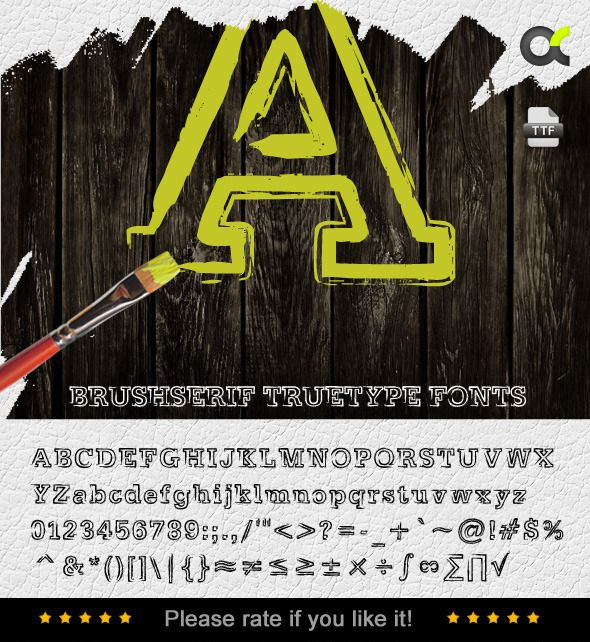 BrushSerif TrueType Font — TrueType TTF #art #font • Available here → https://graphicriver.net/item/brushserif-truetype-font/6830576?ref=pxcr