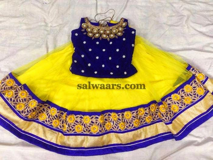 Lemon Yellow Cut Work Floral Skirt - Indian Dresses