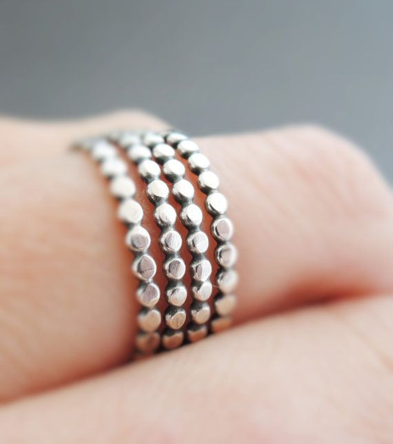 Sterling Silver Rings thin oxidized silver stacking by bluebirdss