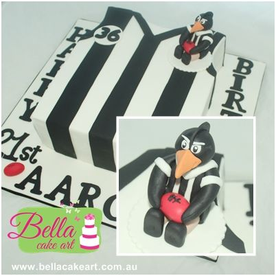 Collingwood jersey cake with edible figurine