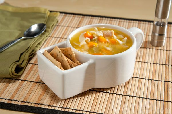 Soup and Cracker Mug conveniently holds your crackers for easy dipping.