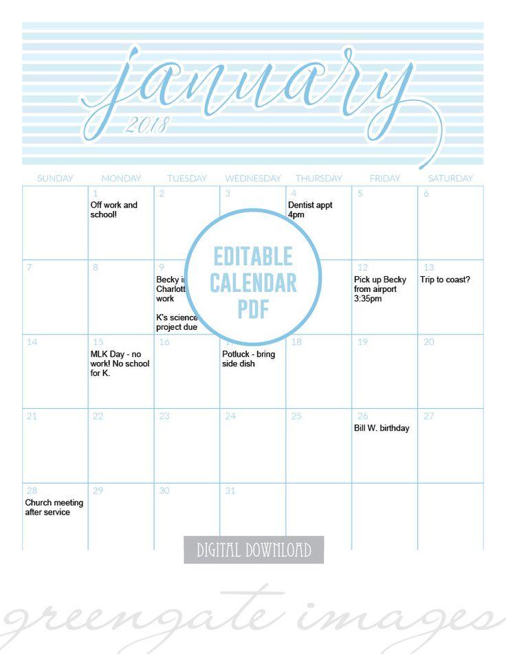 Fillable Calendar PDF -  editable calendar, calendar printable, 2018 calendar, 8.5x11 calendar, printable calendar pages, calendar template
