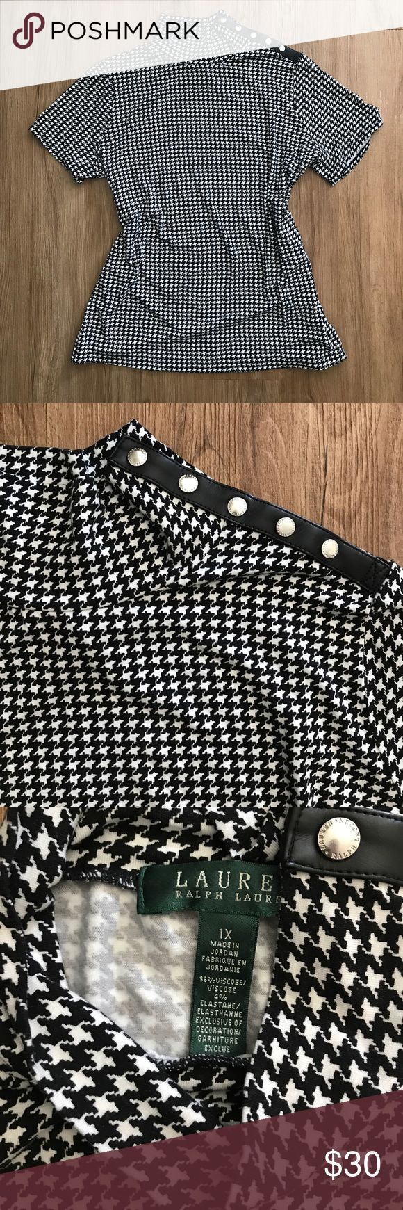 Ralph Lauren Houndstooth top Size 1X, women's, black and white houndstooth pattern, stretchy material, fitted, never worn, 96% viscose, 4% elastane,  faux leather and silver snap detail on left shoulder Lauren Ralph Lauren Tops Tees - Short Sleeve