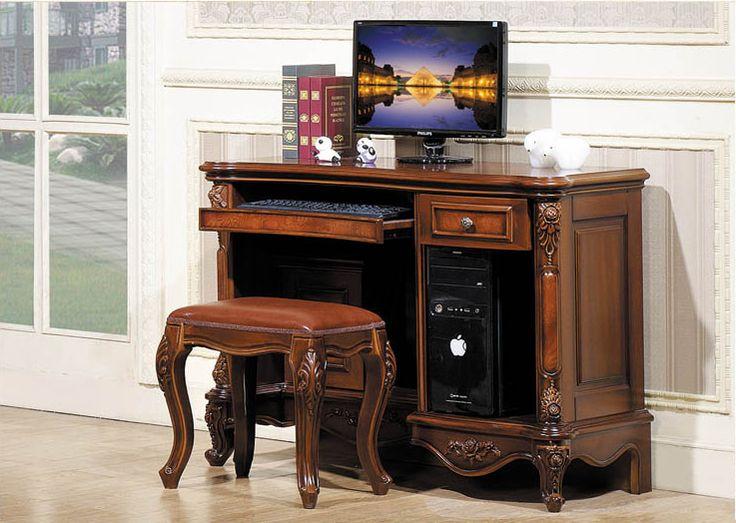 Компьютерный стол коричневого цвета из массива дерева в классическом стиле с подставкой под системный блок и механизмом отсека для клавиатуры и мышки, купить и узнать более подробно в интернет-магазине мебели https://lafred.ru/catalog/catalog/detail/39353344221/