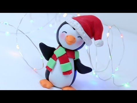 How to make fondant Christmas Penguin cake topper tutorial - YouTube