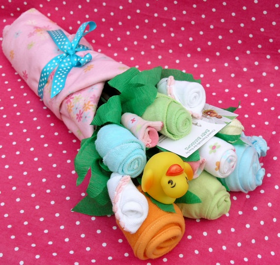 Baby clothes bouquet. Unique baby shower gift