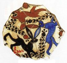 An Egyptian or Syrian pottery fragment, 1200, depicting the three hares symbol; maybe a symbol of fertility and regeneration. (Chinesepuzzles.org)