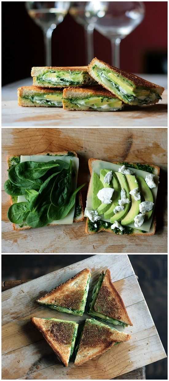 Green Goddess Grilled Cheese Sandwich    by recipesweet #Sandwich #Pesto #Cheese