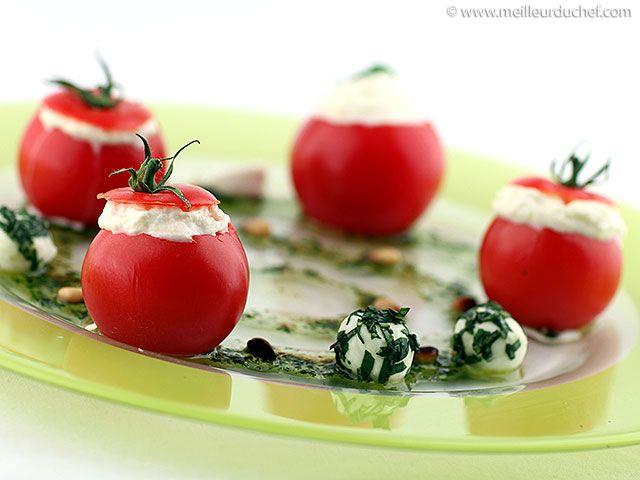 Tomates cocktail en espuma de mozzarella et son pesto