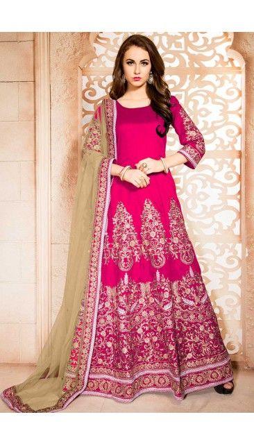 Magenta Banglori Silk Anarkali Churidar Suit With Dupatta - DMV14615