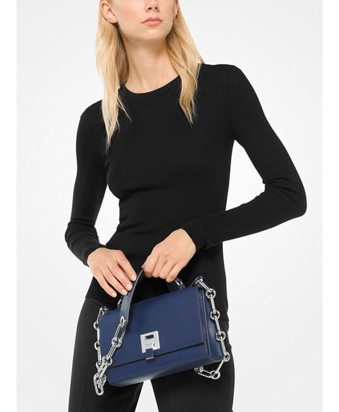 0392bdc2ffaf Michael Kors Bancroft Calf Leather Shoulder Bag - Sapphire - MK923BG ...