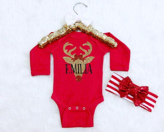 Baby Girl Christmas Reindeer Outfit. Christmas Outfit with Name. Baby Girl Christmas  Outfit. - The 25+ Best Baby's First Christmas Outfit Ideas On Pinterest