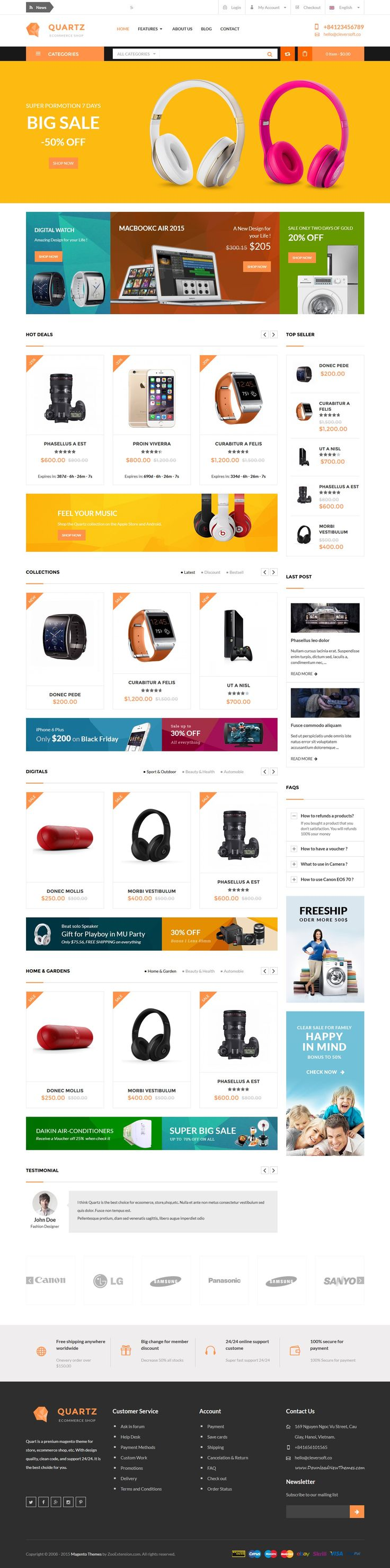 Quartz is premium responsive magento theme #digital #electronics #eCommerce…