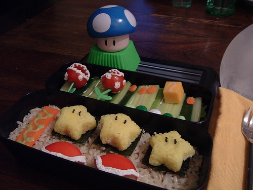 Super Mario Bento (Blue Mushroom is a tin for soy sauce)