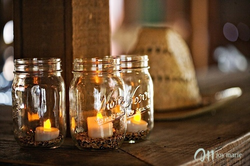 kerr jars with coffee beans and tea lights. parfait!