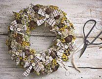 Retro decor, dry flowers wreath