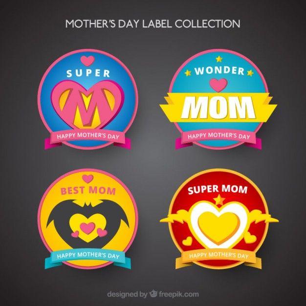 coleção de etiquetas de super-heróis mãe dia Vetor grátis