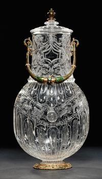 Gefäß in Gestalt einer Pilgerflasche Zugeschrieben an: Annibale Fontana, (Intagli) Mailand 1540 - 1587  Mailand  vor 1569  Gefäß; Krug  Bergkristall; Fassung: Gold, Email