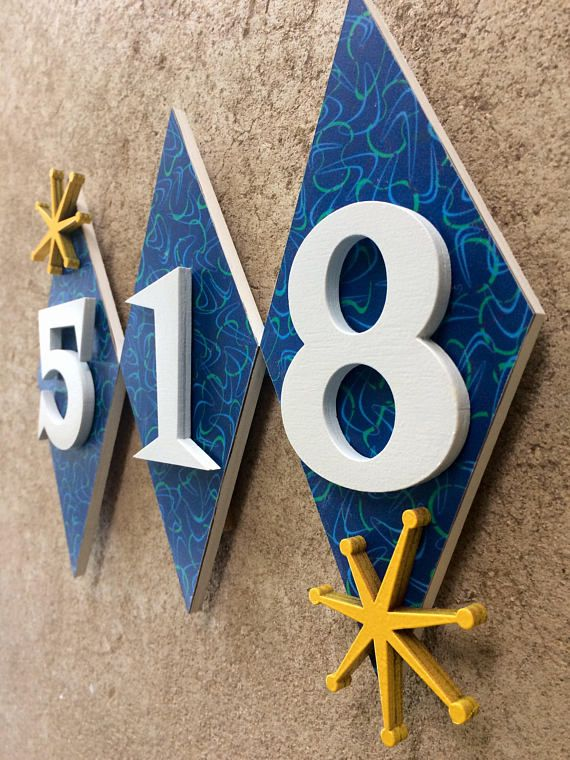 House Number Sign House Number Plaque Mid Century House Numbers