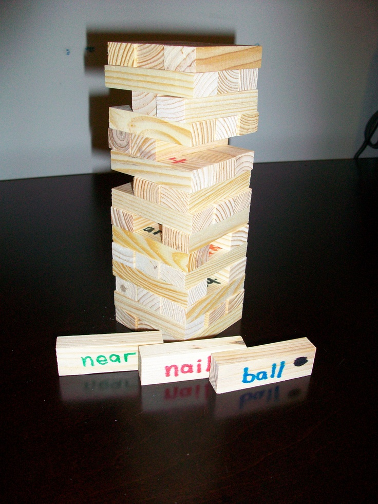 WORD JENGA  Write words on wood blocks (this set was purchased at Dollarama), each time a player pulls out a block, they must use the word in a sentence.: Speech, Fun Sight, Art Games, Classroom Educational Ideas, Jenga Art, Language, Educational Fun, Sight Word Games, Letter Literacy Activities