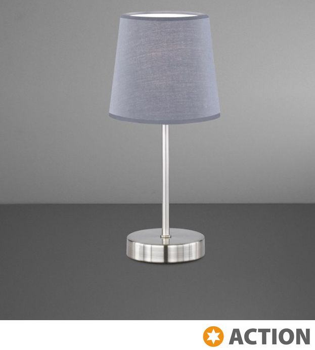 Action 'Cesena' 1 Light Switched Table Lamp, Silver With Grey Fabric Shade - 832401500000 None