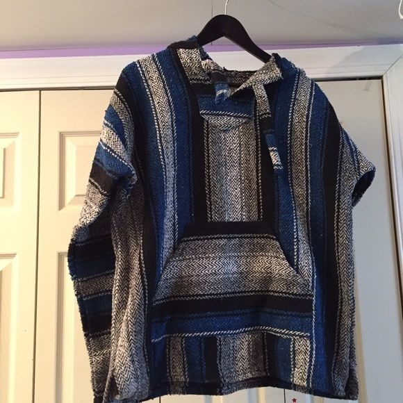 Earth Ragz drug rug NWOT Super comfortable blue, grey, and black drug rug. Never been worn or washed! Loose fit Earth Ragz Tops Sweatshirts & Hoodies
