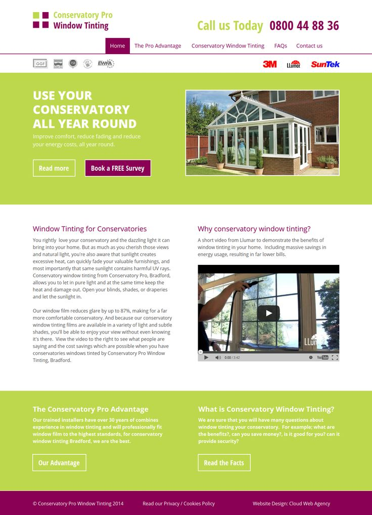 Website Design for Conservatory Pro Window Tinting in Bradford. Desktop and Mobile sites.  http://www.conservatorywindowtinting.com/