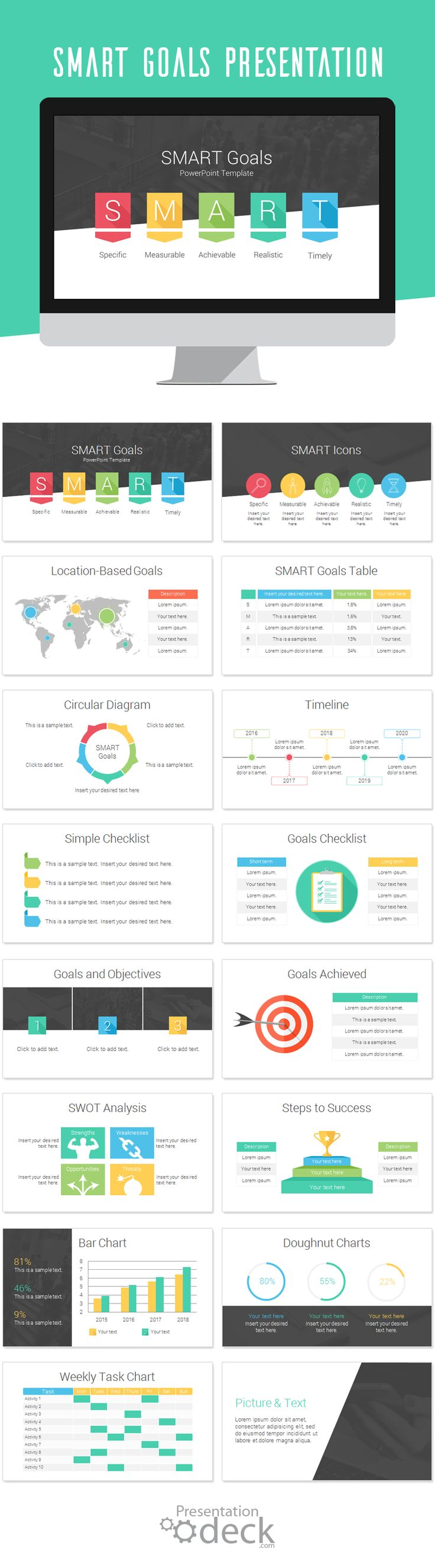 SMART Goals PowerPoint template with 16 pre-designed slides. Define your business target and objectives with style using this modern infographic for PowerPoint. #powerpoint #presentations #business #goals