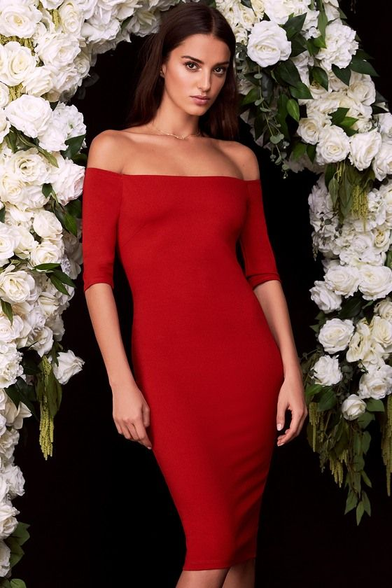 35e7d53c89 Girl Can t Help It Red Off-the-Shoulder Midi Dress in 2018