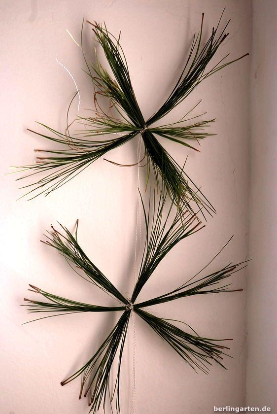 Sterne aus den Nadeln von Pinien: ein schlichter schöner Weihnachtsschmuck, den du ganz schnell basteln kannst. DIY