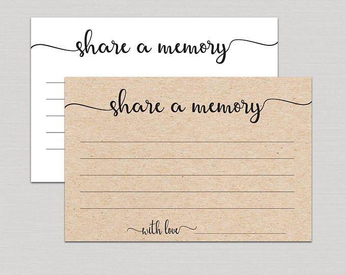 Share A Memory Card Memory Cards Share A Memory Printable Etsy Memorial Cards Memorial Cards For Funeral Memory Cards