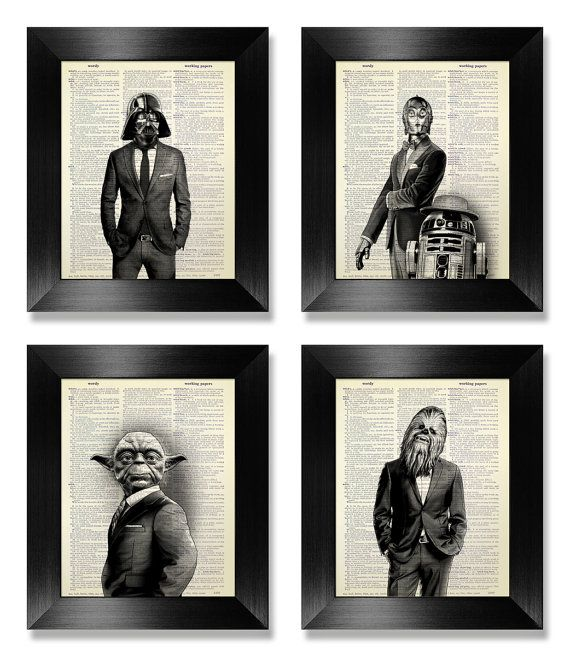 Star Wars Poster Set of 4 Prints Set, Anniversary Gift for Man Birthday Gift Husband Gift, Black White Art Deco Poster, Movie Theater Decor