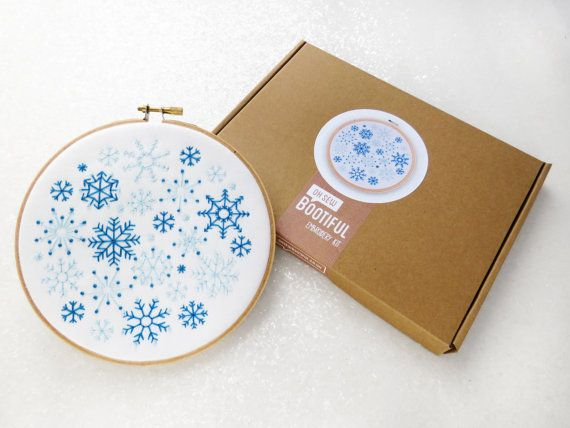 Snowflakes Embroidery Kit, Adults Craft Kit, Xmas Gift For Her, DIY Christmas Decoration, Winter Hoop Art, Stocking Stuffer, Mindfulness Kit