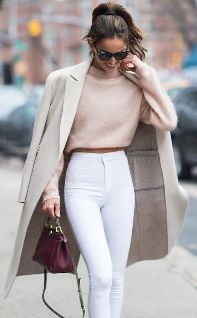 Perfect for spring! Nude structured coat, soft pink jumper and white jeans with a splash of rich colour from the burgundy bag