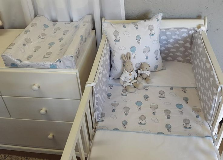 Our #UpandAway bedding in #blue and #grey goes perfectly with our #CloudsTheme for any #BabyBoy's #AdventureTheme nursery!   #BabyBedding #BabyLinen
