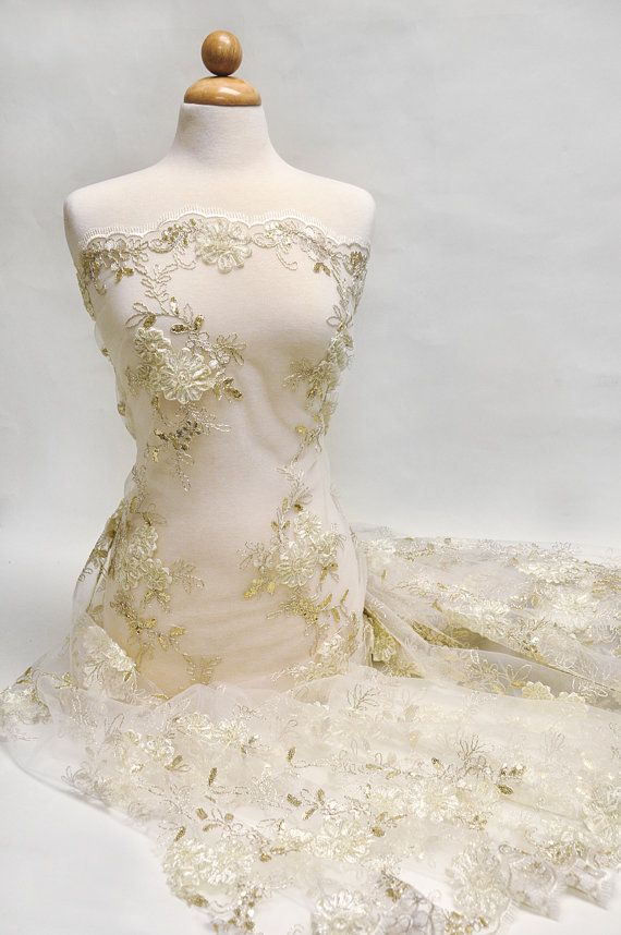 Spectacular Ivory Gold Embroidered Floral Sequin Lace Fabric Wedding Bridal Decoration Special Occasion Dress Fabric by