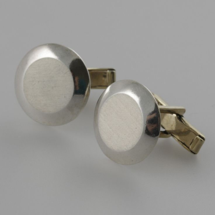 Brushed round sterling silver cufflinks by Sky with Diamonds | Sky with Diamonds