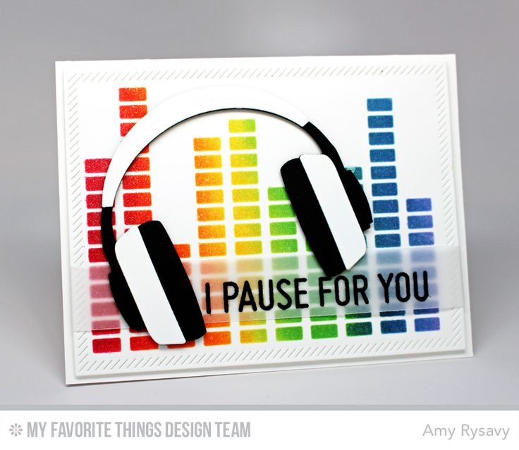 Keep on Rockin', Headphones Die-namics, Inside and Out Diagonal Stitched Rectangle STAX Die-namics, Equalizer Stencil - Amy Rysavy #mftstamps