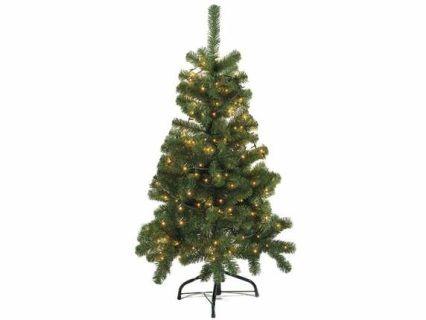 Pino abete albero di Natale artificiale a 206 rami e con base in metallo con luci gialle  Misure: Ø 71 x 120 H Materiale: Plastica