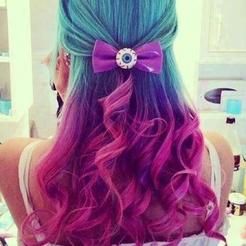 colorful aqua purple pink hair ombre