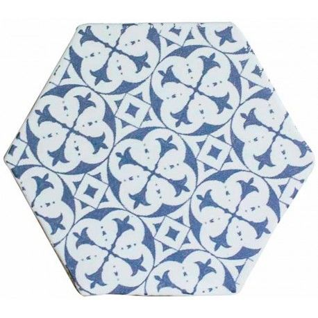 Carrelage hexagonal mat bleu 15 x 15 cm he0811010 for Carrelage hexagonal noir mat