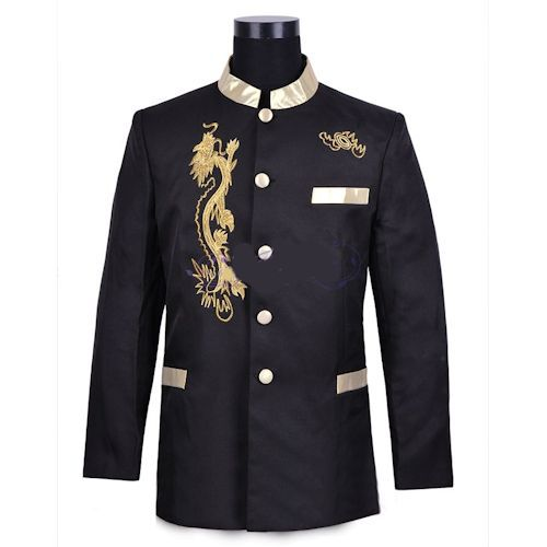 Black Gold Embroidered Dragon Single Breasted Wedding Prom Dress Suit