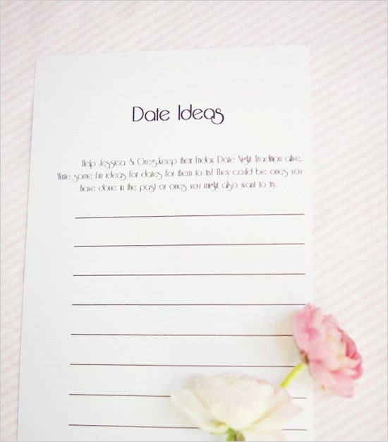 date ideas from the guests at your bridal shower. this is such a cute idea!