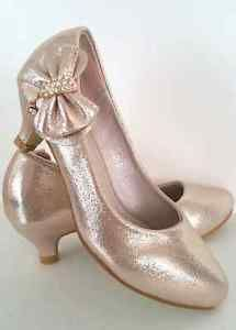 Girls Gold Rhinestone Bow Pageant Low Heel Party Dress Shoes Youth Sizes 9 4US | eBay