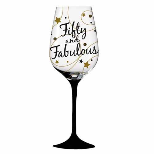 Fifty and fabulous 50th birthday wine glass