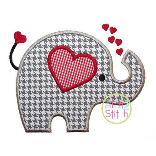 """Valentine Elephant Applique Design For Machine Embroidery (""""Pigtails"""" Font is NOT included) INSTANT DOWNLOAD now available"""