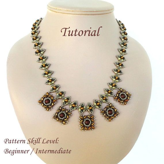 XQUEB beaded necklace beading tutorials and by PeyoteBeadArt
