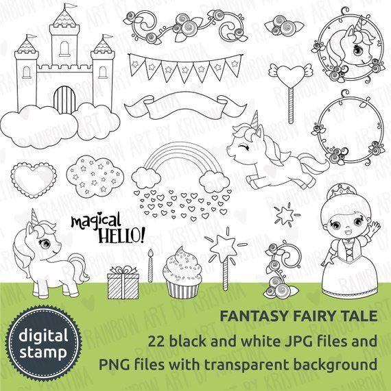 Digital Stamp Cute Fantasy Fairy Tale Clip Art Transparent Etsy In 2021 Fantasy Fairy Clip Art Fairy Tales